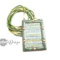 FOLK - tűzzománc nyaklánc (zöld), Ékszer, Medál, Nyaklánc, A FOLK kollekció minden darabja egytől egyig természetes anyagok házasításából készült. A bébi merin..., Meska