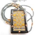 FOLK - tűzzománc nyaklánc (szürke-sárga), Ékszer, Medál, Nyaklánc, A FOLK kollekció minden darabja egytől egyig természetes anyagok házasításából készült. A bébi merin..., Meska