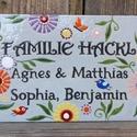 Egyedi tűzzománc névtábla - virágos, Egyedi tűzzománc névtábla, stilizált virágos...
