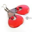 Kadarta -  tűzzománc fülbevaló (korallpiros), Elegáns, nőies, könnyű viselet. A fülbevaló ...