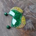Léna - tűzzománc fülbevaló (zöld ), Elegáns és vagány fülbevaló az ünnepi szetth...