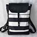 Fekete-fehér csíkos hátizsák velúr bőrrel, Táska, Hátizsák, Varrás, Fekete-fehér csíkos erős vászonból készült hátizsák fekete velúrbőrrel kombinálva.  A táska elején ..., Meska