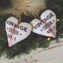 Vintage No.1.  szívek két darab  egy csomagban, Dekoráció, Ünnepi dekoráció, Karácsonyi, adventi apróságok, Adventi naptár, Varrás, Készleten lévő, azonnal rendelkezésre álló termék (a fotón az adásvétel tárgyát képező konkrét dara..., Meska