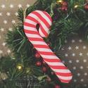 Textil cukorpálca, nyalóka, Dekoráció, Ünnepi dekoráció, Karácsonyi, adventi apróságok, Karácsonyfadísz, Varrás, Készleten lévő, azonnal rendelkezésre álló termék (a fotón az adásvétel tárgyát képező konkrét dara..., Meska