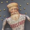 Tetovált Mikulás bácsi, Dekoráció, Ünnepi dekoráció, Karácsonyi, adventi apróságok, Karácsonyi dekoráció, Varrás, Fotó, grafika, rajz, illusztráció, Készleten lévő, azonnal rendelkezésre álló termék (a fotón az adásvétel tárgyát képező konkrét dara..., Meska