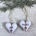 AKCIÓ! - Karácsonyi fenyőfa dísz - Peace - Joy, Készleten lévő, azonnal rendelkezésre álló t...