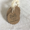 Címke csomag kézműveseknek - Hand Made kör, Készleten lévő, azonnal rendelkezésre álló t...