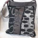 Vászon táska - fekete szürke mintás, Táska, Anyák napja, Ballagás, Válltáska, oldaltáska, Vászon táska. - zipzárral záródik - fekete , szürke, barna mintás - egyedi kézműves termék..., Meska