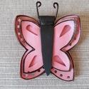 Pillangó kitűző, táskadísz - valódi bőr, Dekoráció, Mindenmás, Ruha, divat, cipő, Dísz, Pillangó kitűző, táskadísz - rózsaszín  - fehér színekben, különböző mintákkal - anyag..., Meska