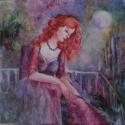Holdfényben álmodozva-olajfestmény, Képzőművészet, Festmény, Olajfestmény, Fa lapra festett-sejtelmes,titokzatos. légies nőalak... Egyedi technika és színvilág. a festmény mér..., Meska