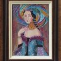 FARAHNAZ- olajfestmény KERETTEL, Képzőművészet, Festmény, Olajfestmény, Festészet, Technika:olaj-fa Méret:35x25cm+keret A festmény-különleges, ikonszerű női portré, sajátos, egyedi d..., Meska