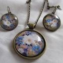Vintage-szett  kék virágos, Ékszer, Nyaklánc,  Szép virágos szett-pasztell színekben. Nyaklánc üveglencse:25mm Fülbevaló üveglencse: 18mm ..., Meska