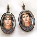 FÜLBEVALÓ  Kleopatra-vintage, Üveglencsés fülbevaló. A lencse mérete:25x18m...