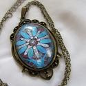 Vintage-kék mintás nyaklánc, Ékszer, Karkötő, Ékszerkészítés, Szép pasztell lila nyaklánc-a virágot kedvelőknek.  A lencse mérete:30x40mm A nyaklánc:50cm   , Meska
