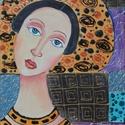 HAYET- olajfestmény, Képzőművészet, Festmény, Olajfestmény, Festészet, Technika:olaj-fa Méret:20x35cm A festmény-különleges, ikonszerű női portré, sajátos, egyedi díszíté..., Meska