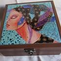 NAGY TEADOBOZ- kerámia képpel, Exkluzív teadoboz saját festménnyel. A doboz ba...