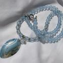 JADE-gyöngysor, Ékszer, óra, Karkötő,  Kék JADE gyöngyökből fűzött gyöngysor-NAGY csíkos ACHÁT medállal T-kapoccsal záródik.  ..., Meska