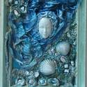 KÉK FANTÁZIA- paverpol textilkép, Képzőművészet, Otthon, lakberendezés, Festmény, Vegyes technika, Technika:paverpol textilkép-fára Méret:21x26cm KERETTEL  Keretezni is lehet, a képeken a keretek vir..., Meska