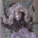 LILA FANTÁZIA- paverpol textilkép, Képzőművészet, Otthon, lakberendezés, Festmény, Vegyes technika, Technika:paverpol textilkép-fára Méret:37x31cm KERETTEL  Keretezni is lehet, a képeken a keretek vir..., Meska