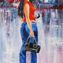 A PIROS ESERNYŐ-olajfestmény, Képzőművészet, Festmény, Olajfestmény, Technika:olaj-fa  A festmény mérete:25x42cm. Keret nélkül kínálom eladásra. A keretezésben tudok seg..., Meska