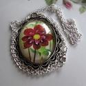 Vintage-szál virág- nyaklánc, Ékszer, Karkötő, Igazi romantikus vintage üveglencsés nyaklánc. A lencse mérete:30x40mm A nyaklánc:50cm   , Meska