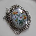 Vintage-virágos nyaklánc, Ékszer, Karkötő, Igazi romantikus tavaszi virágcsokor üveglencse alatt. A lencse mérete:30x40mm A nyaklánc:50cm   ..., Meska