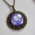Vintage-orgonás- nyaklánc, Ékszer, Karkötő, A lila szín kedvelőinek-üveglencse alatt.  A lencse mérete:25mm A nyaklánc:50cm   , Meska