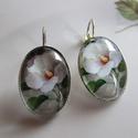 -Vintage-üveglencsés fülbevaló, FÜLBEVALÓ-fehér virággal.   üveglencse:25x18m...