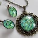 SZETT  -vintage smaragd színben, NYAKLÁNC és FÜLBEVALÓ  A nyaklánc üveglencse...
