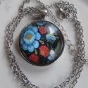 Vintage-MINTÁS- nyaklánc, Ékszer, Karkötő, VIRÁGOS minta csodás színekben- az üveglencse alatt.  A lencse mérete:30mm A nyaklánc:50cm   , Meska