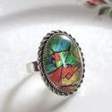 ÚJ KOLLEKCIÓ-vintage modern mintás gyűrű, Modern képet tettem  üveglencse alá. A lencse m...