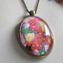 Vintage-MINTÁS- nyaklánc, Ékszer, Karkötő, Szép modern virágmintás- csodás színekben- az üveglencse alatt.  A lencse mérete:30mm A nyakl..., Meska