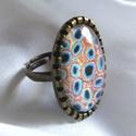 ÚJ KOLLEKCIÓ-vintage modern mintás gyűrű, Ékszer, Gyűrű, Modern képet tettem  üveglencse alá. A lencse mérete:25x18mm  A gyűrű állítható.  , Meska