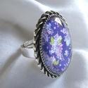 ÚJ KOLLEKCIÓ-vintage ORGONA- gyűrű, Ékszer, Gyűrű, Orgonás képet tettem  üveglencse alá. A lencse mérete:25x18mm  A gyűrű állítható.  , Meska