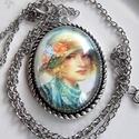 Vintage- romantikus szett LADY, Ékszer, Nyaklánc, Csodás romantikus üveglencsés ékszer. Nyaklánc üveglencse:30x40mm  A nyaklánc hossza:50cm   , Meska