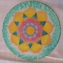 napsugárvirága, Dekoráció, Mindenmás, Dísz, kézzel festett selyem mandala, 20 cm átmérőjű, langyos vízzel lemosható. Szinei jó hatással..., Meska