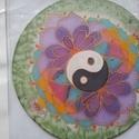 Egyensúly, Dekoráció, Mindenmás, Kép, Kézzel festett 20 cm átmérőjű selyem mandala. Színterápiaként alkalmazható, ott ahol sokat ..., Meska