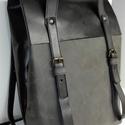 Minimál hátizsák -szürke-fekete hevva részére, Táska, Ruha, divat, cipő, Hátizsák, Bőrművesség, A hátizsák sötétszürke zsíros nubuk és fekete marhabőrből  készült.  Nyersvászon béléssel, a bélése..., Meska