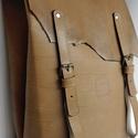 Minimál hátizsák - nyers, Táska, Ruha, divat, cipő, Hátizsák, A hátizsák érlelt nyers marhabőrből  készült.  Sötétbarna vászon béléssel, a bélésen k..., Meska
