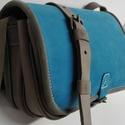 Kicsi kétrekeszes - kék-szürke 2, Táska, Válltáska, oldaltáska, A táska méretei: 22x17x8cm. Anyaga kék nubuk és szürke marhabőr. Két rekeszes egyszerű kis v..., Meska