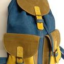 Klasszikus hátizsák őszi színekkel 2, Táska, Hátizsák, Tarisznya, A hátizsák igazán klasszikus: 2 zseb, bőrszíjjal összehúzható, csatok minden mennyiségben. ..., Meska