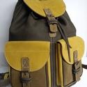 Klasszikus hátizsák őszi színekkel 3, Táska, Hátizsák, Tarisznya, A hátizsák igazán klasszikus: 2 zseb, bőrszíjjal összehúzható, csatok minden mennyiségben. ..., Meska