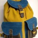 Klasszikus hátizsák őszi színekkel 4, Táska, Hátizsák, Tarisznya, A hátizsák igazán klasszikus: 2 zseb, bőrszíjjal összehúzható, csatok minden mennyiségben. ..., Meska