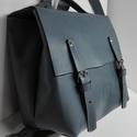 Mini minimál hátizsák - világos kék, Táska, Divat & Szépség, Táska, Hátizsák, A hátizsák világos kék marhabőrből  készült.  Nyers vászon béléssel, a bélésen kis zseb, mobilnak, e..., Meska