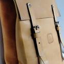 Minimál hátizsák - narancssárga, Táska, Ruha, divat, cipő, Hátizsák, A hátizsák narancssárga marhabőrből  készült.  Világos vászon béléssel, a bélésen kis z..., Meska