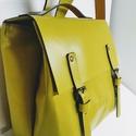 Mini minimál hátizsák - sárga, Táska, Ruha, divat, cipő, Hátizsák, A hátizsák neon sárga marhabőrből  készült.  Nyers vászon béléssel, a bélésen kis zseb, ..., Meska