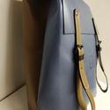 Minimál hátizsák kombinált_2, Táska, Divat & Szépség, Táska, Hátizsák, A hátizsák világoskék és nyers marhabőrből készült. Farmerhatású vászon béléssel, a bélésen kis zseb..., Meska