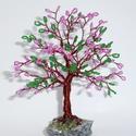 Rózsaszín tündér gyöngyfa, Esküvő, Dekoráció, Nászajándék, Dísz, Rózsaszín gyöngyös és zöld gyöngyös ágak váltogatják egymást a fa koronájában. A gyön..., Meska