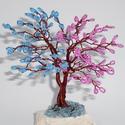 Kék-rózsaszín gyöngyfa, Dekoráció, Esküvő, Dísz, Nászajándék, Rózsaszín gyöngyös ágak a fa egyik felén vannak és a másik felén kék gyöngyös ágak vann..., Meska