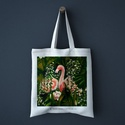 Flamingó Vászontáska, Képzőművészet, Táska, Festmény, Festészet, Flamingók a bevásárló táskán, igazi vidám trópusi hangulat, ezek a flamingók nagyon szerelmesek. 10..., Meska